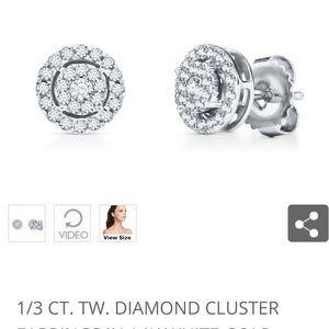 1/3 CT total Wt 10k white gold diamond earrings